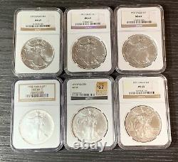1986-2021 American Silver Eagles Complete 36-Coin Set Each Graded NGC MS69