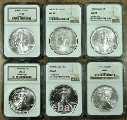 1986-2021 NGC MS69 American Silver Eagle Complete Set 36 Coins Type 1