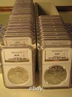1986 2021 T2 American Silver Eagle 37 Coin Set Ngc Ms69 Brown Premium Coins Pq