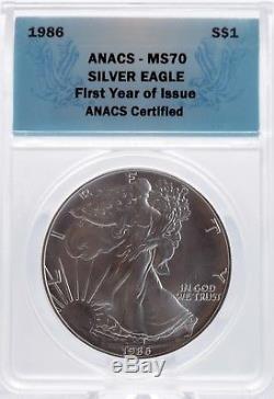 1986 American Eagle Silver Dollar 1 oz $1 ANACS MS70 Rare First Year Issue Gem