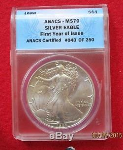 1986 American Eagle Silver Dollar Graded MS 70