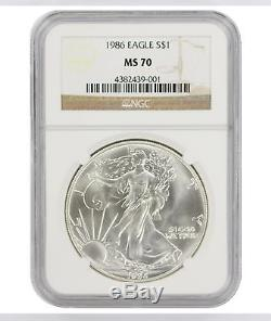 1986 American Silver Eagle Dollar MS70 NGC Mint State 70