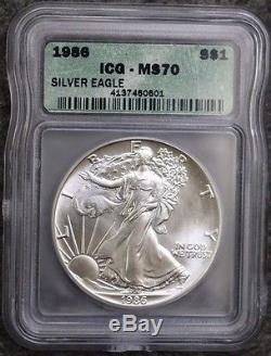1986 American Silver Eagle Icg Ms70 Rare