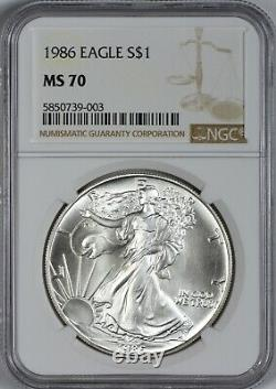 1986 American Silver Eagle NGC MS70 First Year of Issue Scarce in MS70