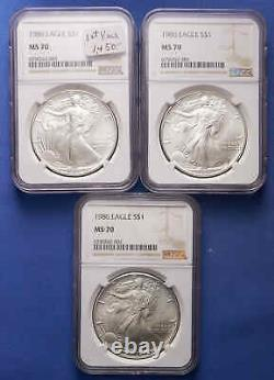 1986 American Silver Eagle NGC MS70 RARE! First Year of the American Silver Eagle