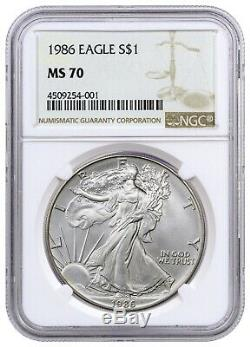 1986 American Silver Eagle NGC MS70 Rare GEM