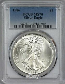 1986 American Silver Eagle PCGS MS70 First Year of Issue Scarce in MS70
