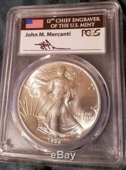 1986 American Silver Eagle PCGS MS70 Mercanti Signed