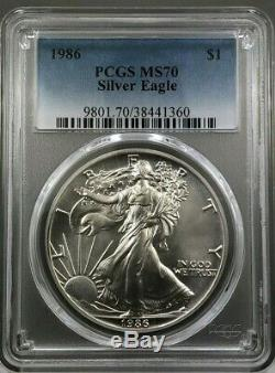 1986 American Silver Eagle PCGS MS70 NICE WHITE FLAWLESS COIN