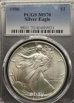 1986 American Silver Eagle S$1 PCGS MS70 Top eBayer since 2005 Silver Dollar
