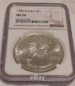 1986 MS 70 American Eagle Silver Dollar NGC MS70 Off The Chart