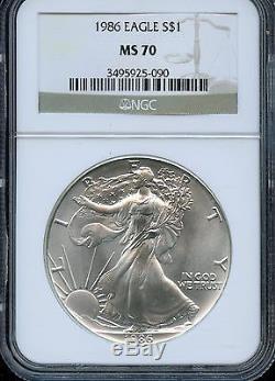 1986 NGC MS70 American Silver Eagle 1 oz. 9993 Silver $1 BN25 P