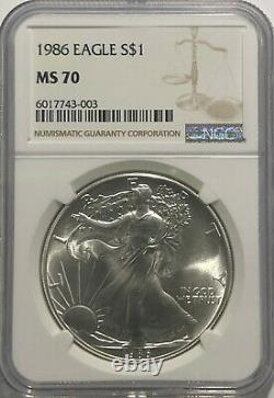 1986 Ngc Ms70 $1 Mint State Silver American Eagle 1 Oz. 999 First Year Issue