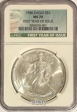 1986 Ngc Ms70 $1 Silver American Eagle 1 Oz. 999 First Year Issue Holder