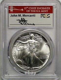 1986 (S) $1 Silver Eagle Struck at San Francisco PCGS MS70 First Strike Mercanti