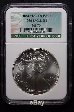 1986 Silver American Eagle Dollar NGC MS 70 Perfect GradeTough! First Year Label