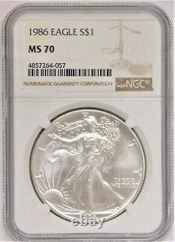 1986 Silver American Eagle Dollar NGC MS70 Scarce Grade