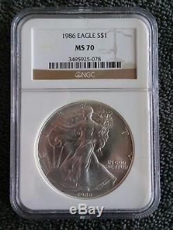 1986 Silver American Eagle MS-70 NGC