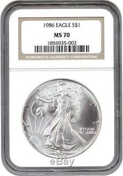 1986 Silver Eagle $1 NGC MS70 American Eagle Silver Dollar ASE
