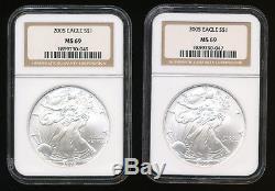 1986 Thru 2005 American Silver Eagle Set All NGC Graded MS 69 NGC Box ASE 86-05
