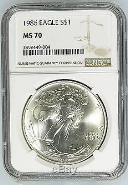 1986 U. S. American Silver Eagle $1 Bullion Coin NGC MS70