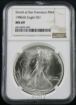 1986 (s) American Silver Eagle Struck At San Francisco Ngc Ms 69