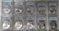 1986 thru 2005 20 Silver American Eagle PCGS MS-69 blue label with PCGS box