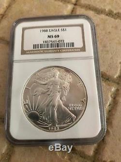 1986 thru 2019 Silver American Eagle NGC MS69 Set, Brown Label
