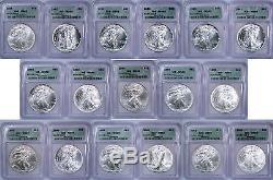 1986 to 2002 ICG MS69 AMERICAN SILVER EAGLE 17 COIN SET 1oz 999 FINE