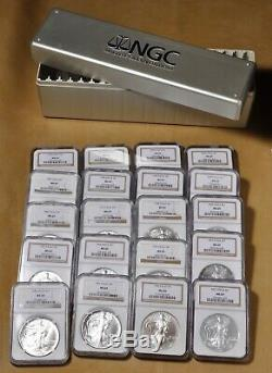 1986 to 2005 American Eagle Silver Dollar Set NGC Brown Label all Certified MS69
