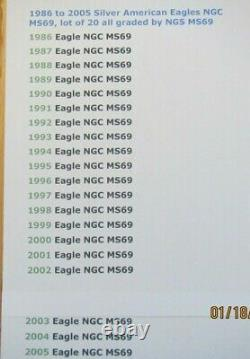 1986 to 2005 Complete American Silver Eagles Set NGC MS69 Lot of 20 in NGC Box