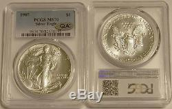 1987 $1 One Ounce American Silver Eagle PCGS MS70 and QA Certified by QA Coins