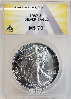 1987 American Silver Eagle $1 Gem Brilliant Uncirculated ANACS MS70