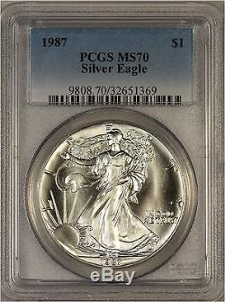1987 American Silver Eagle PCGS MS70 TOP POP