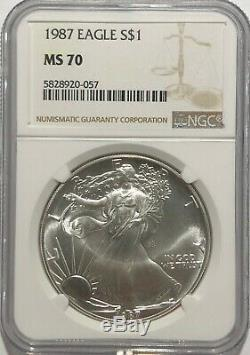 1987 Ngc Ms70 Silver American Eagle Mint State 1 Oz. 999 Fine Bullion Clean Coin