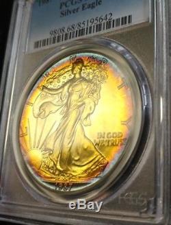 1987 ONE DOLLAR AMERICAN EAGLE. 999 SILVER Beautiful Color Toned GEM BU MS68