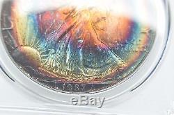 1987 Pcgs Ms68 American Silver Eagle Rainbow Toned Bulls-eye Target Toning