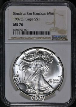 1987 (S) Silver American Eagle $1 NGC MS70 Struck San Francisco Brown STOCK