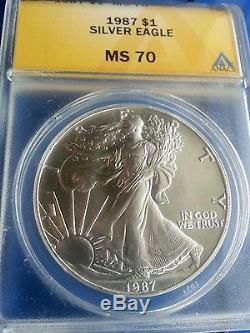 1987 Silver American Eagle ms70 ANACS PERFECT Rare COIN