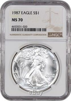 1987 Silver Eagle $1 NGC MS70 American Eagle Silver Dollar ASE