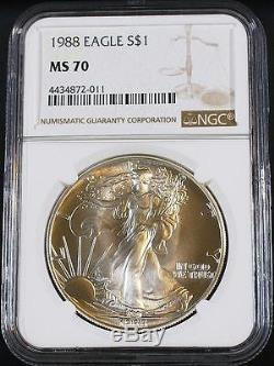 1988 $1 1 oz. American Silver Eagle Freshly Graded Perfect NGC MS 70 Gold Label