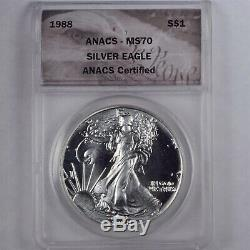 1988 $1 American Silver Eagle 1 Oz Anacs Ms70 Keydate Coin No Toning Or Spots