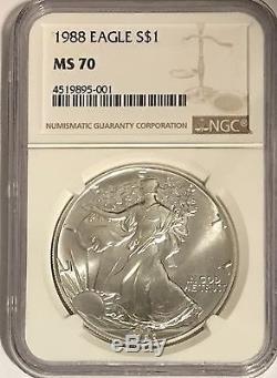 1988 $1 Ngc Ms70 Silver American Eagle 1 Oz. 999 Fine Bullion