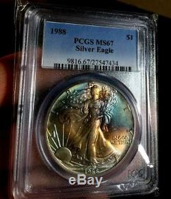1988 American Silver Eagle 1 oz PCGS MS67 TONED Rainbow Toning $1 Coin