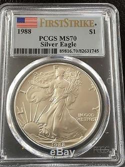 1988 American Silver Eagle First Strike Ms70 Retail $8500 Pop 7 Make An Offer