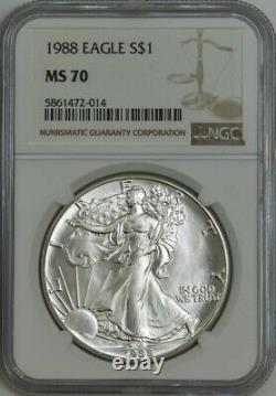 1988 American Silver Eagle $ MS70 NGC Q943326-9