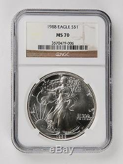 1988 American Silver Eagle NGC MS-70 Very Rare