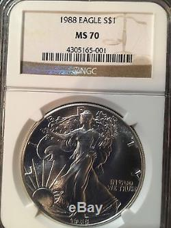 1988 American Silver Eagle NGC MS-70 Very Rare! -143099