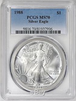 1988 Ase American Silver Eagle Dollar Pcgs Ms70 Rare, Perfect Coin