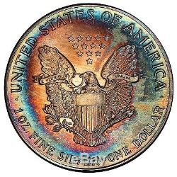 1988 MS68 $1 American Silver Eagle- Monster Rainbow Toned